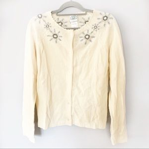 Vtg Laura Ashley wool snow flake cream cardigan L